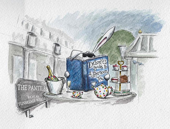 illustration in watercolour of a rabbit at afternoon tea reading a Debrett's guide to etiquette, in Royal Tunbridge Wells, at a table with champagne MOET and tea bot EMMA BRIDGEWATER and sandwiches. Humour.