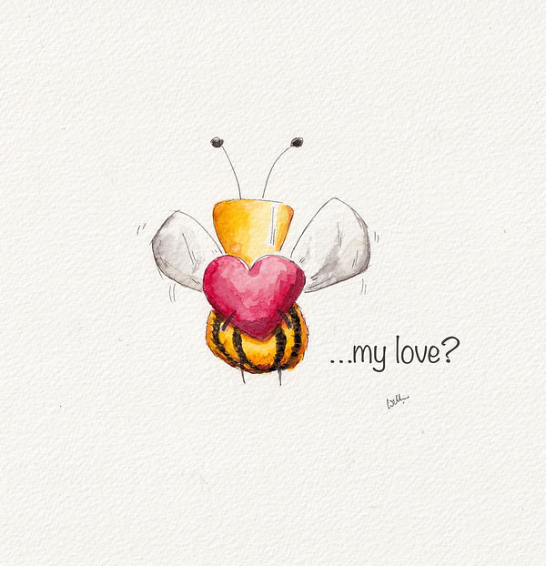 cute and humorous watercolour illustration of a bee holding a heart, Bee my love,