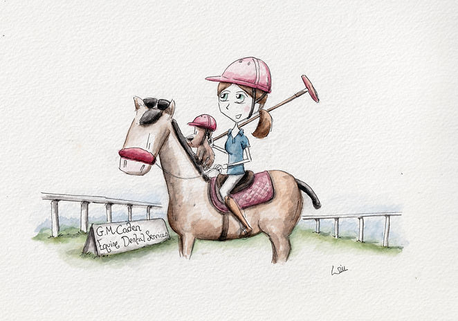 Watercolour illustration of a horse, cut, and polo horse with a polo rider and a small dog. the girl playing polo is wearing a pink HOOK helmet and smiling. The sign said G M Caden Equine Dental Services. and is an advert for equine dentistry.