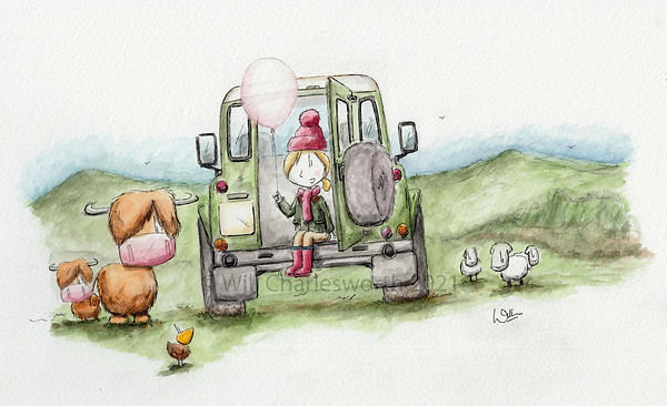 Watercolour illustration of a girl stting in a land rover holding a ballloon in the countryside with cows and sheep.