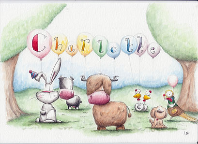 watercolour picure of balloons spelling Charlotte girl's name with animals in a field including a bunny, dog, pheasant, cow and chickens. humour