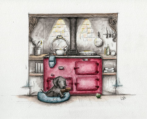 A watercolour illustration of an aga cooker in red in a country kitchen with a dog sitting in front of the cooker with a slipper in his mouth. cute and humorous illustration..