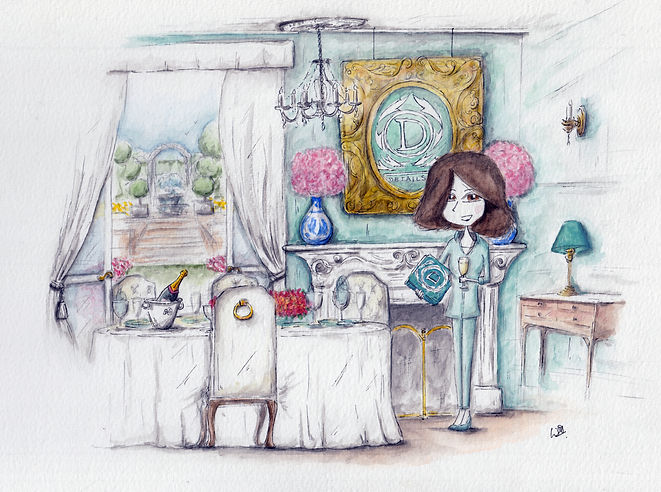 illustration of woman standing in her dining room, with champagne and a guide to ettique at a luxury table with open doors to a beautiful garden. Luxury lifestyle.