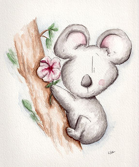 watercolour illustration of a koala with eucalptus and hibiscus flower, holding onto a tree, cute and smiling. Humour.