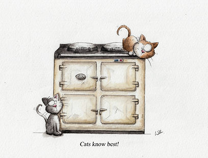 watercolour illustration of an aga cooker, with cats climbing on it, creame aga and humour.