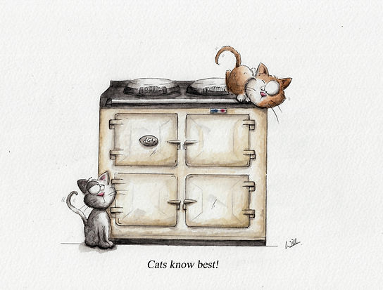 """Aga cooker illustration using watercolour, cats climbing it cute cartoon, """"cats know best"""" is the title. humour and cute"""