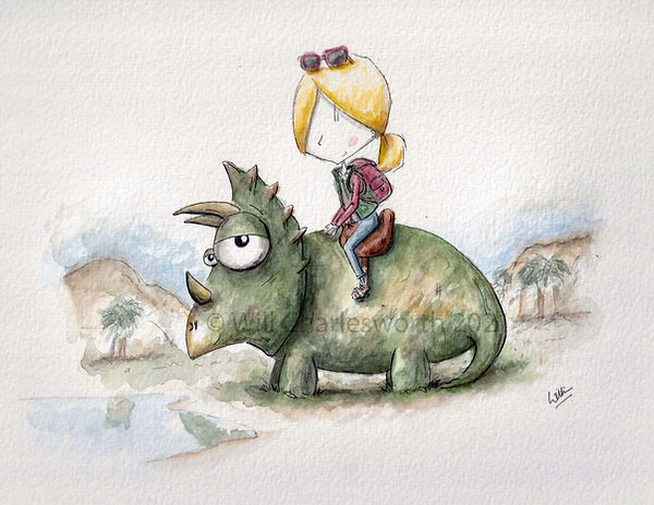 Illustration in watercolour of a girl on a dinosaur. A triceratops. Humour.