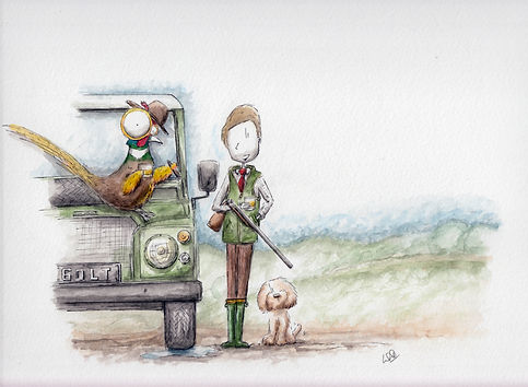 watercolour illustration of a pheasant, man shooting in a field with a dog,. cute and humourous. and a land rover defender