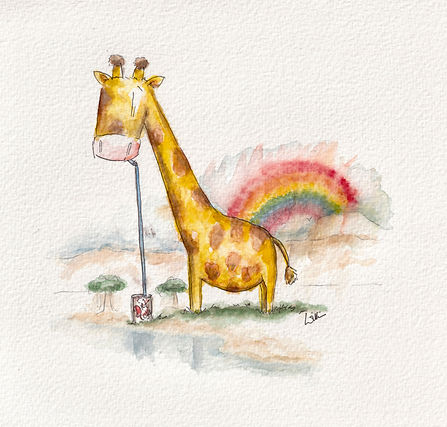cute and humorous watercolour illustration of a giraffe and rainbow drinking at water