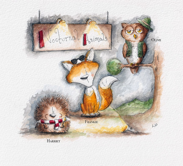 Hedgehog, fox and owl are in a wood, watercolour illustration for children. Called Nocturnal Animals