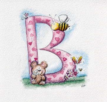 watercolour illustration of a letter B with a bee, and bear and butterfly cute in a field.