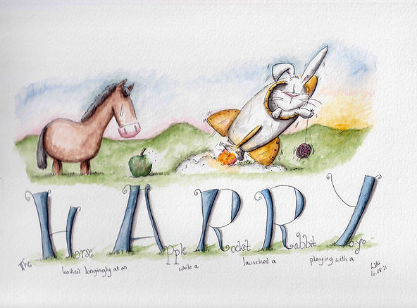 cute and humorous watercolour illustration of a horse and an apple, with a rabbit in a rocket launching to space with the word HARRY