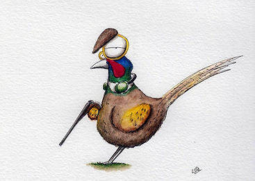 watercolour illustration of a pheasant in shotting outfit with a shotgun and earphones and hat. cute and humorous.