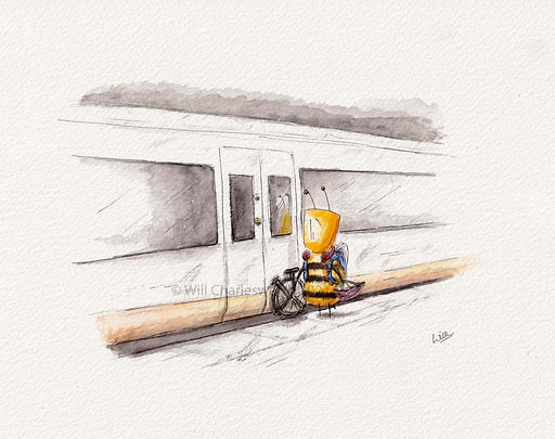 watercolour illustration of a bee commuting to london on the train with a folding bike.