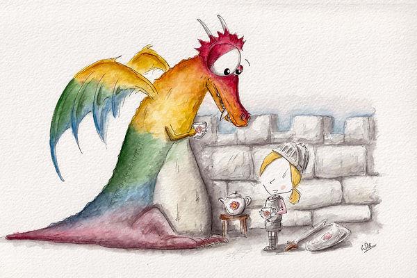 Watercolour rainbow dragon drinking tea with a knight girl.