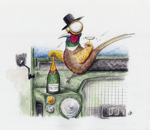 a watercolour illustration of a pheasant sitting on a ladn rover defender with a bottle of champagne and glass in hand, with a hat, cheers! humour and cartoon style.