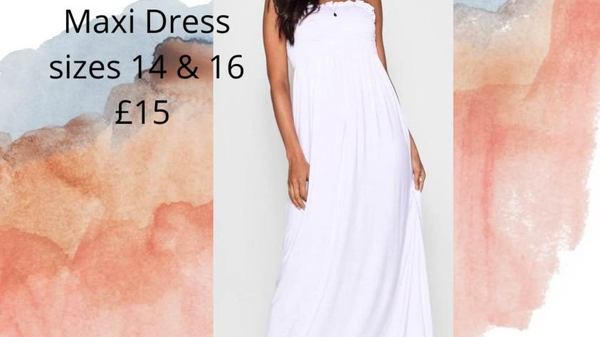 WHITE BANDEAU MAXI DRESS