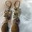 Thumbnail: Wooden effect drop earrings with gemstones