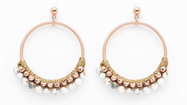 Alboka Rose Gold Beaded Hoop Earrings