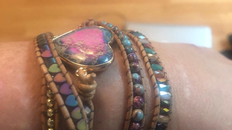 Turquoise & Pink love heart wrap bracelet