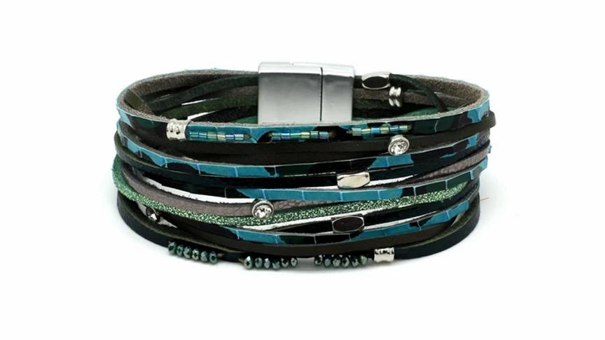 Vole Teal Leather Magnet Bracelet