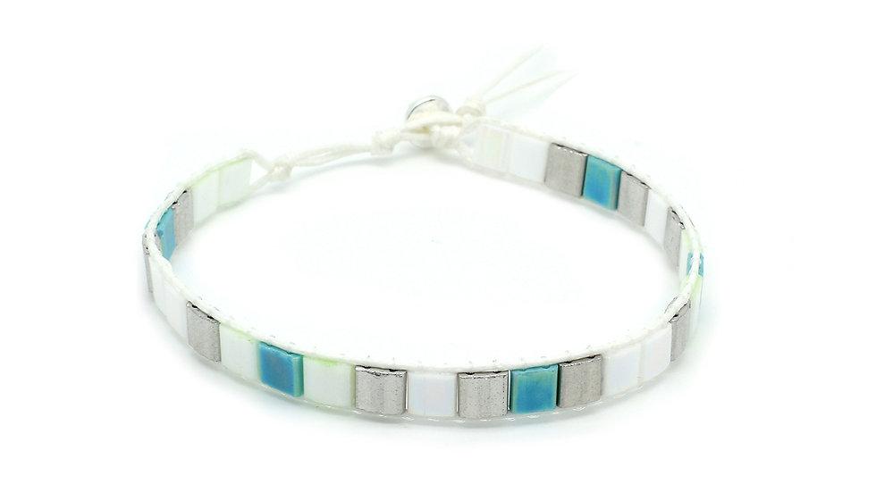 Cacari Mint Green Tila Bead Bracelet