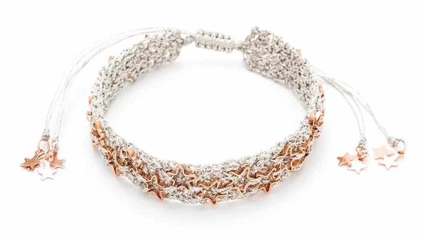 Mandolin Silver/Rose Gold Star Macrame Bracelet