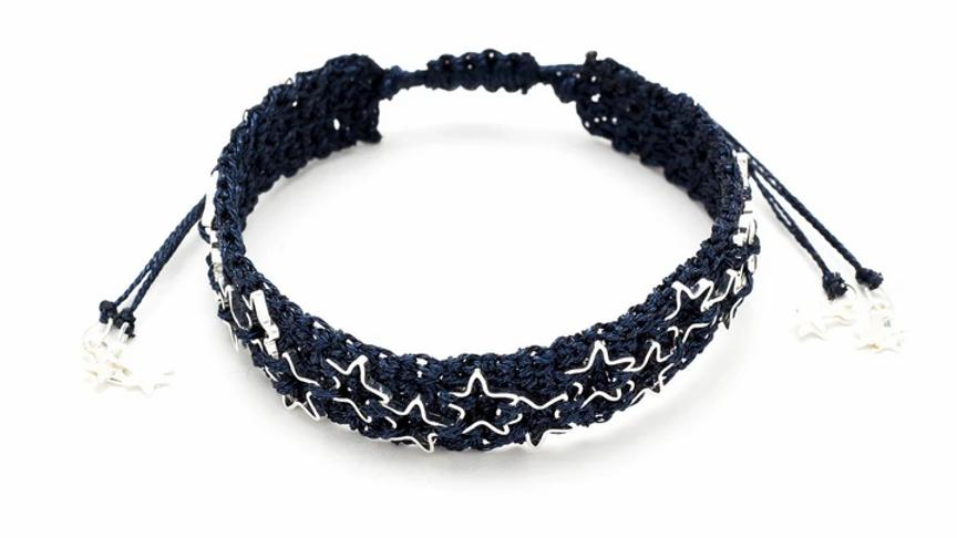 Mandolin Navy/Silver Star Macrame Bracelet