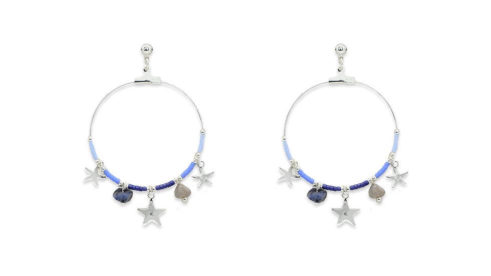 Pequi Blue Charm Hoop Earrings