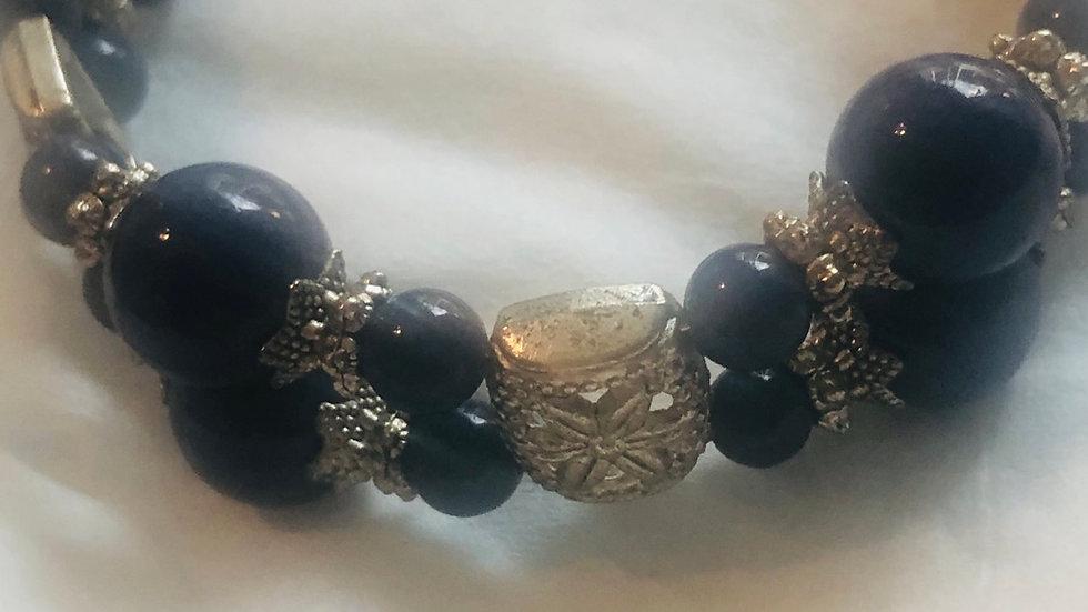 Blue & Silver Antique Style Bracelet