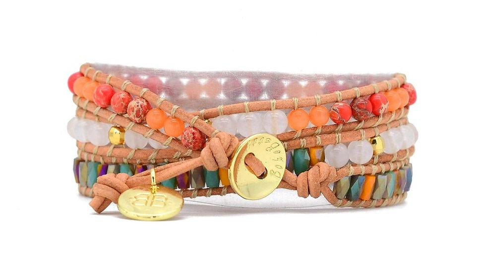 Nicosia Orange Leather 3 Wrap Bracelet