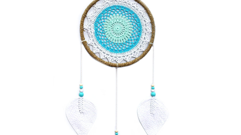 Large Dream Catcher Elemental Spirits White and Turquoise
