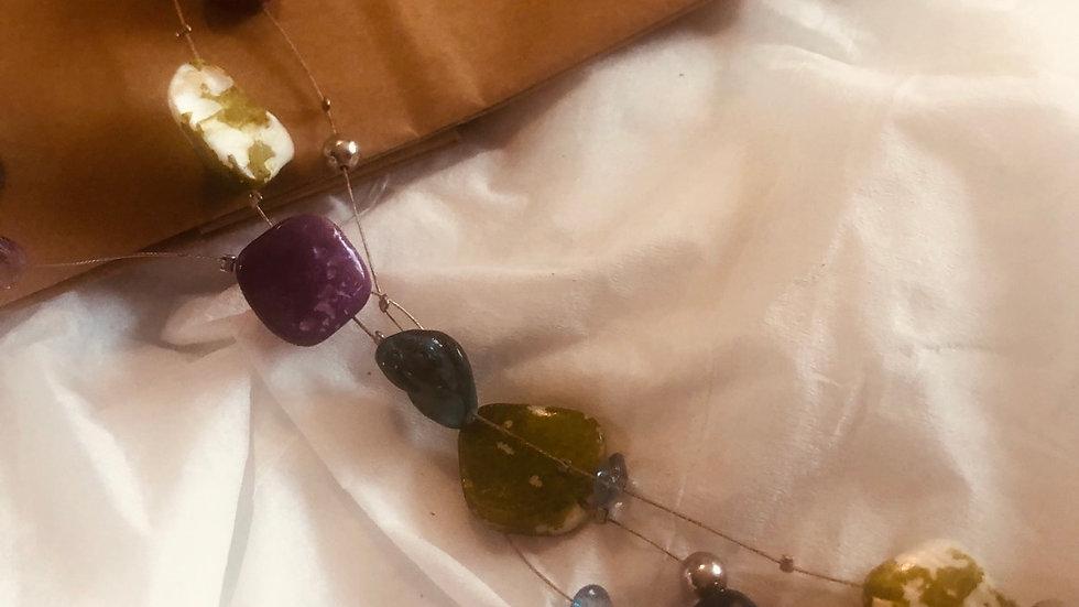 Drop handwired gemstone necklace
