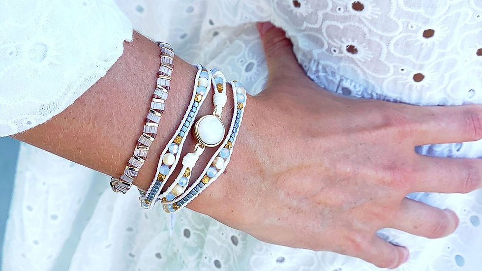 Pinatubo Cream and Gold 2 Layer Bracelet Stack