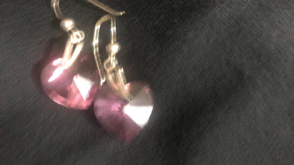 Pink gemstone heart earrings