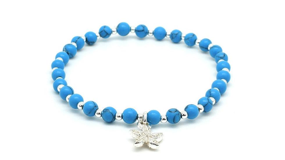 Guava Beaded Starfish Charm Bracelet