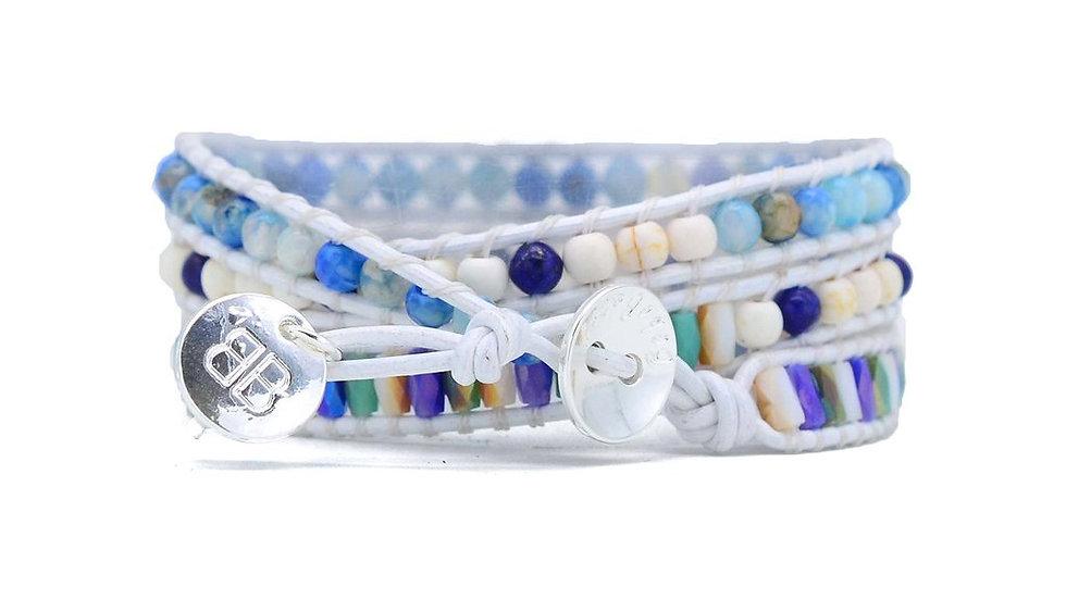 Nicosia Blue Leather 3 Wrap Bracelet