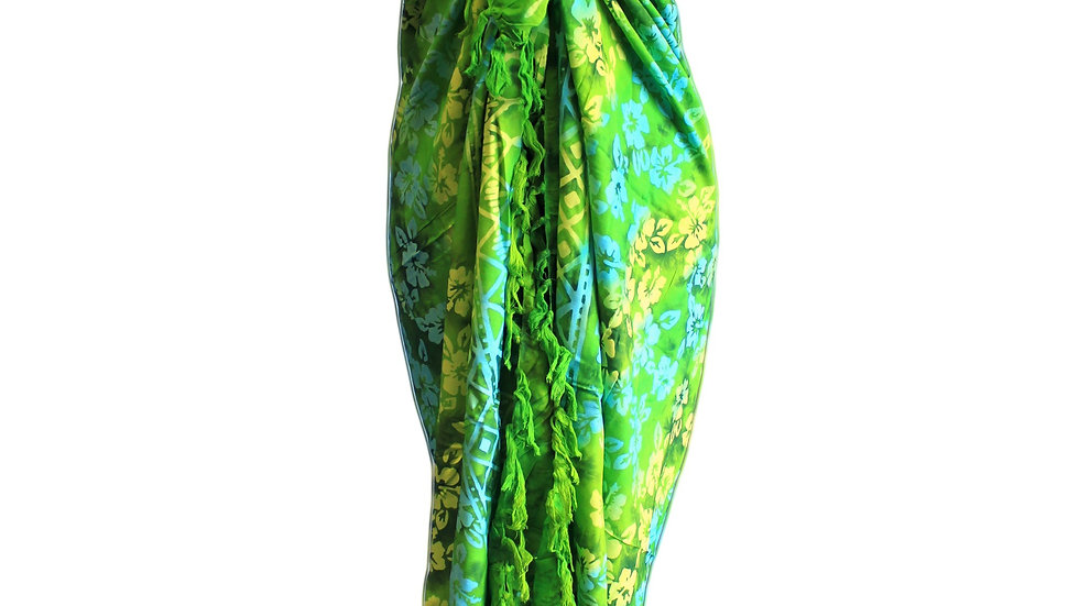 Green Sarong with Orchid Hand Painted Print
