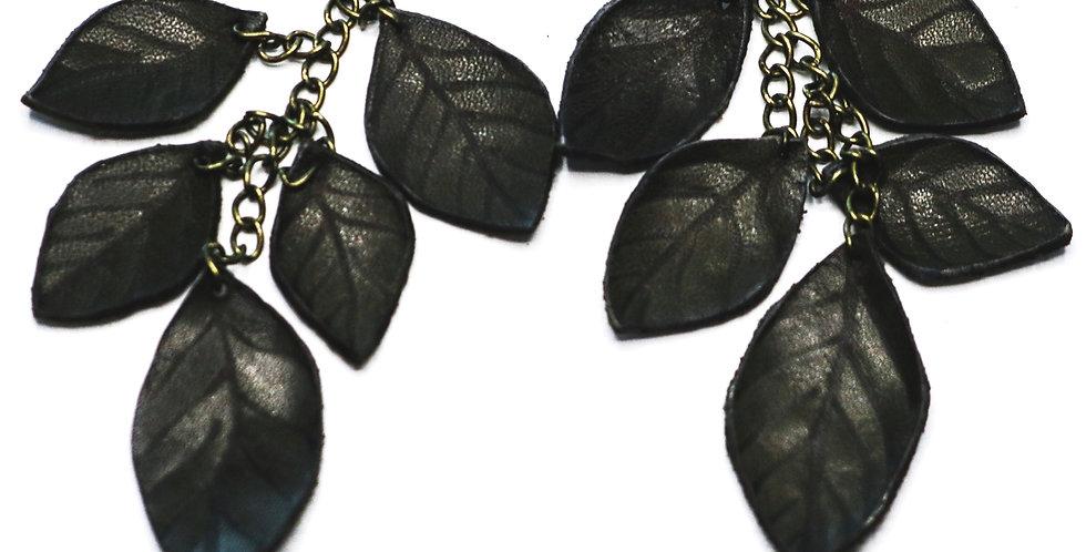 Leather Leaf Dangle Earrings