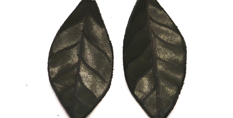 Leather Leaf Earrings - Green