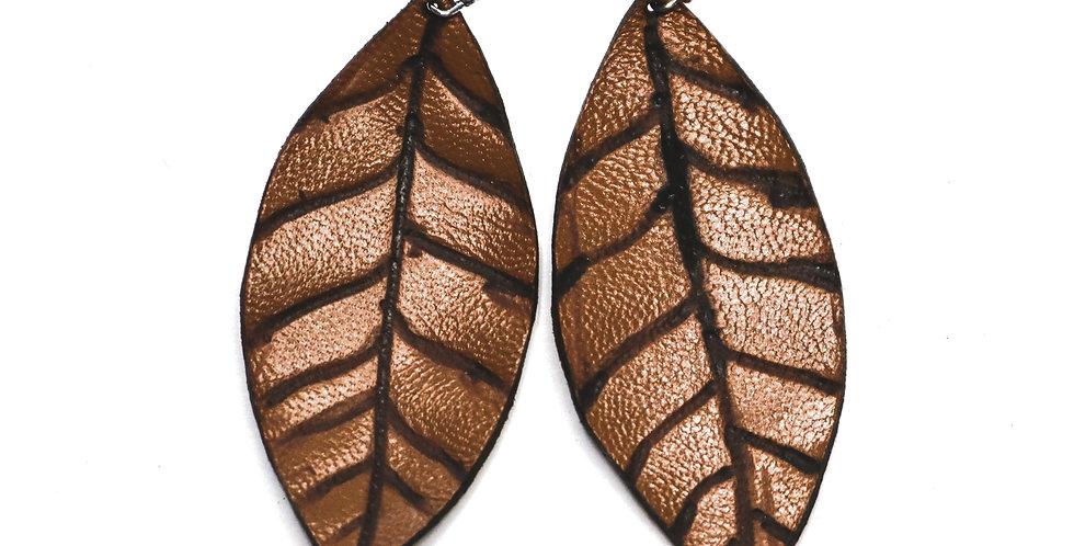 Leather Leaf Earrings - Camel