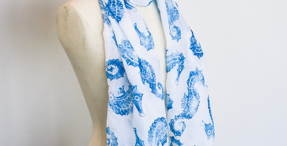 Seahorse Print Scarf