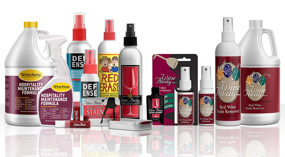 Wine Away product line with up DEFENSE b