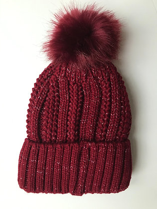 Red Fleck Fleece lined hat with faux fur bobble