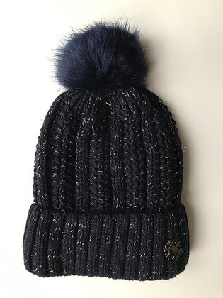 Navy Fleck Fleece lined hat with faux fur bobble