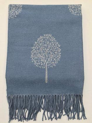 Blue 'Tree of Life' Pashmina