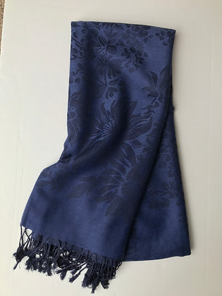 Navy patterned scarf