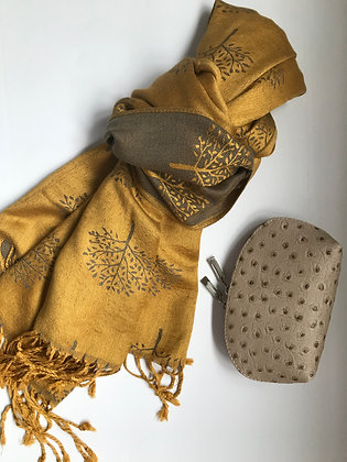 Gold 'Tree of Life' scarf and Cosmetic Bag Gift Set