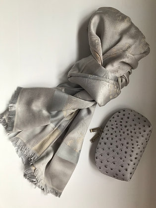 Silver/Grey scarf and Cosmetic Bag Gift Set