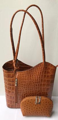 Gift Set Megan Patent Leather Rucksack & Cosmetic Bag Gift Set